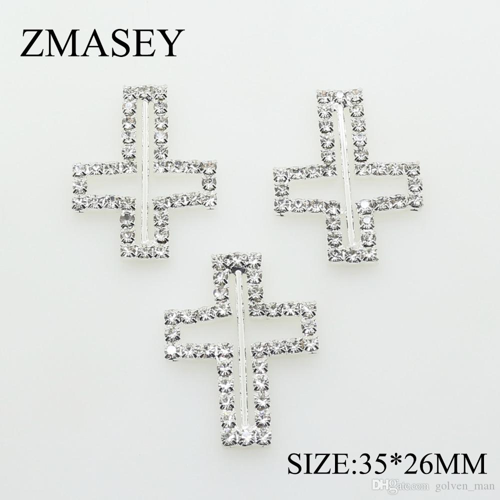 50pcs/lot 35*26mm Rhinestone Buckles Ribbon Slider Women Clothing for Wedding Invitation Belt Card Hair Craft Accessories
