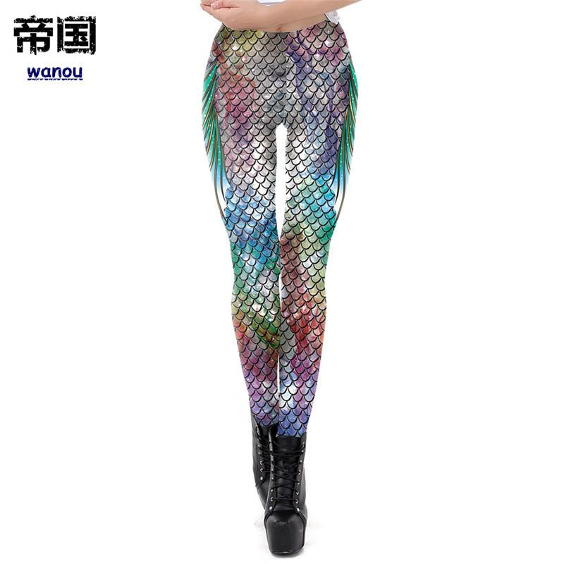 7aa3452eb Compre Galaxy Sereia Leggings Mulheres Escamas De Peixes Impresso Treino  Legging Colorido Aptidão Leggins Plus Size S XL Calças Finas De Diguowanou