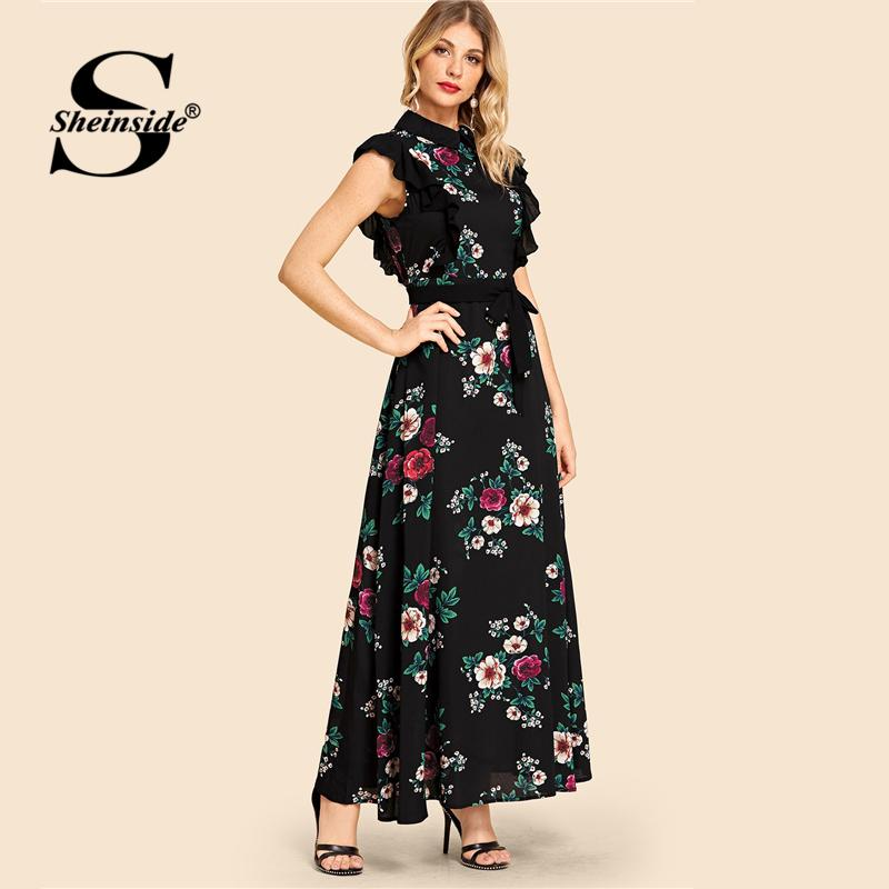 af762150efe Sheinside Ruffle Trim Self Belted Flower Print Collar Women Dress Bohemian  Cap Sleeve Womens Dresses Ladies A Line Summer Dress Semi Formal Dresses  Black ...