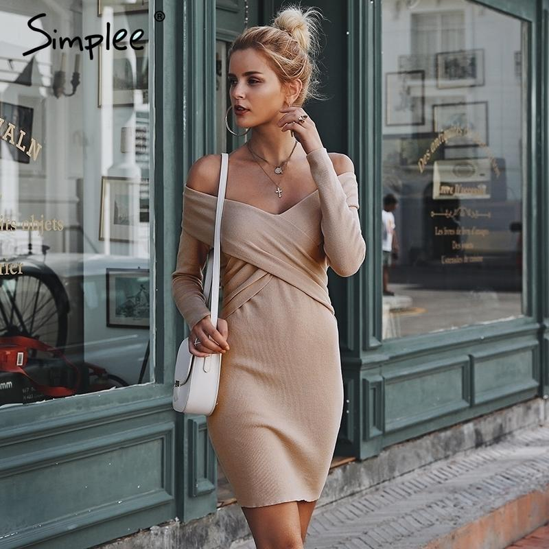 3815c9eab7c 2019 Simplee Off Shoulder Criss Cross Knitted Women Sweater Dress V Neck  Bodycon Sexy Dress 2018 Autumn Winter Dress Ladies Vintage Q190424 From  Yizhan05