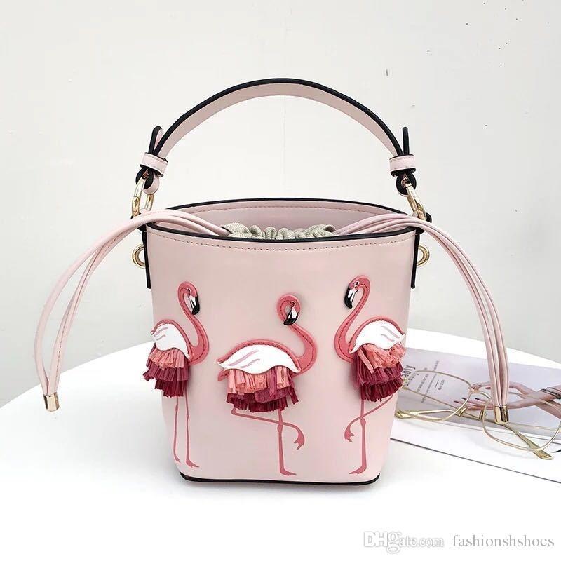 Flamingo Bucket Bag Women Shoulder Bags Pink Luxury Hand Bags PU Leather  Handbag Female Designer Fairy Round Tote And Purses  173842 Handbag Brands  Cheap ...