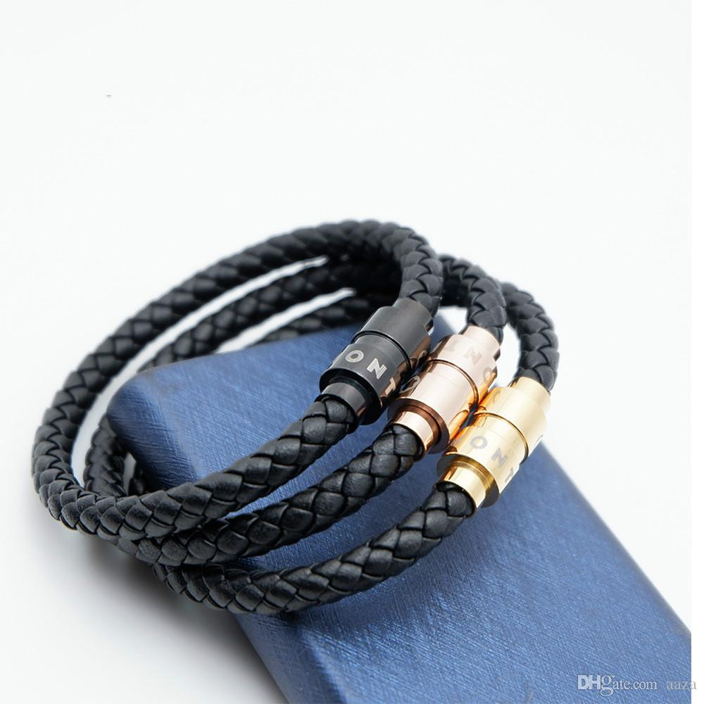 Branded bracelet mt woven leather bracelet for men inner diameter 6mm length 20cm stainless steel magnet buckle leather rope bracelet