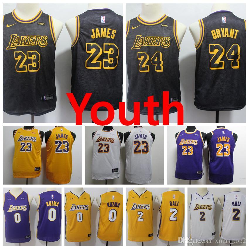finest selection bdf96 62b59 2019 Lakers Youth Kids Basketball Jersey 2 Ball 0 Kuzma 23 James 24 Bryant  New City Jerseys Youth kids Boys Basketball Jerseys