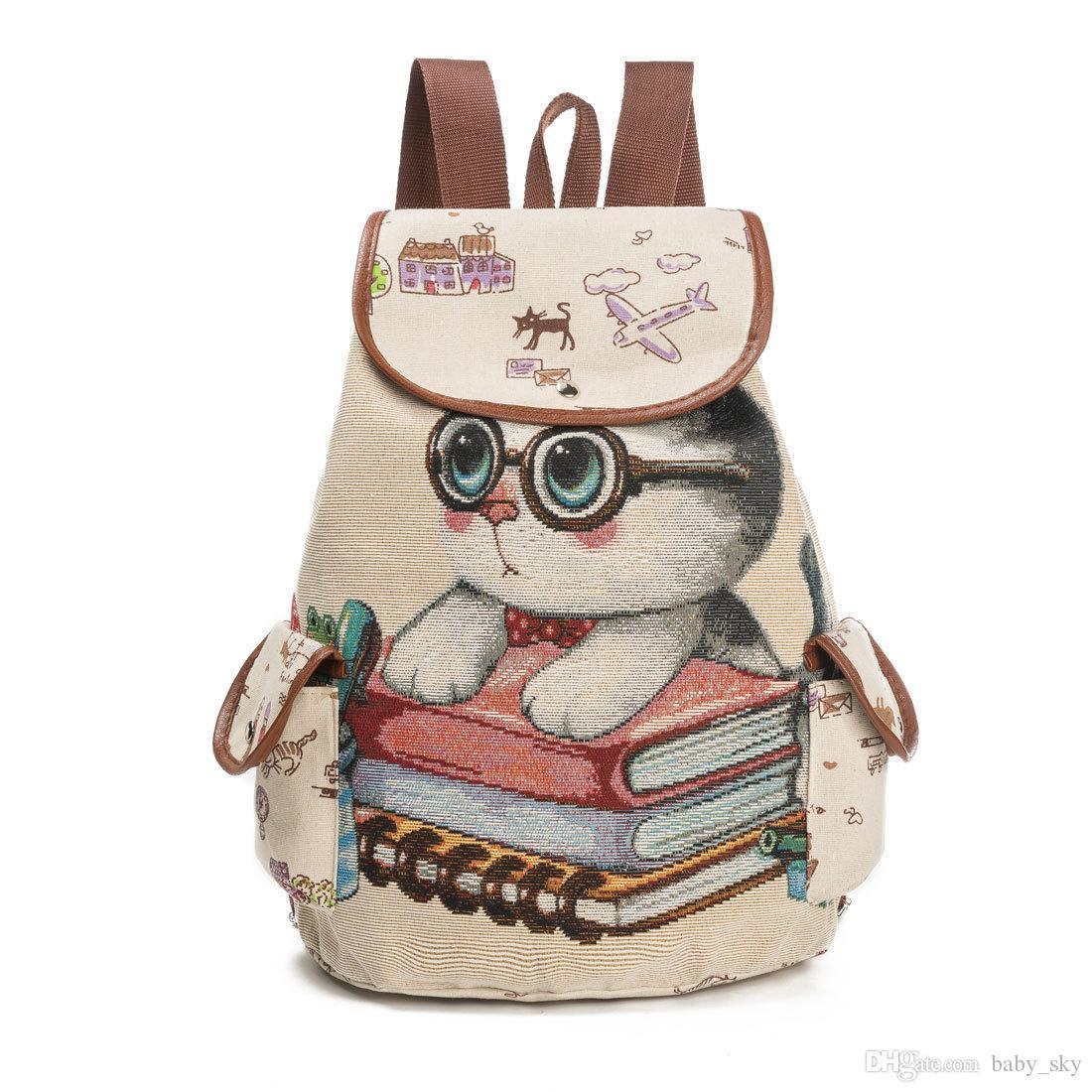 Cartoon Cat Cute Kitten Print Canvas Backpack Women Outdoor Travel ... 8ccc3feec7d54