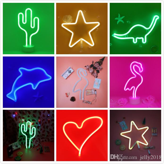 LED Night Light Creative LED Green Cactus Neon For Kids Childrens Rooms Battery Power Night Lamp Table Lamp Party Decoration Lights 2019