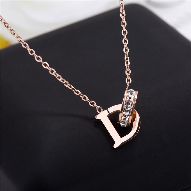 New D Letter Crystal Annulus Interlocking Pendant Women Rose Gold Necklace Wedding Party Jewelry Friends Lovers Gift