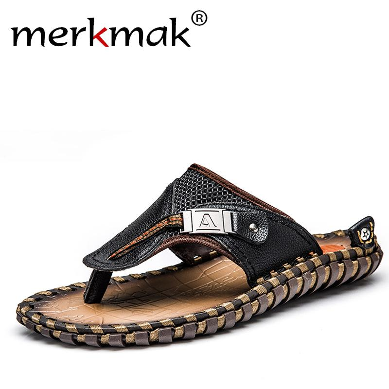 510d82b4ba7c Merkmak Luxury Brand 2018 New Men S Flip Flops Genuine Leather Slippers  Summer Fashion Beach Sandals Shoes For Men Big Size 45 Boots Shoes Green  Shoes From ...