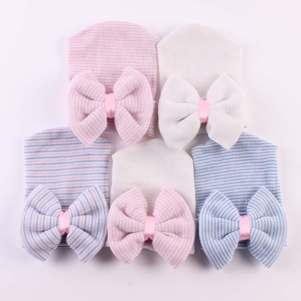 0-6 Months Newborn Baby Hats Toddlers Knit Bowknot Caps Soft Cotton Beanie With Bow Kids Striped Hat 7styles GGA2657