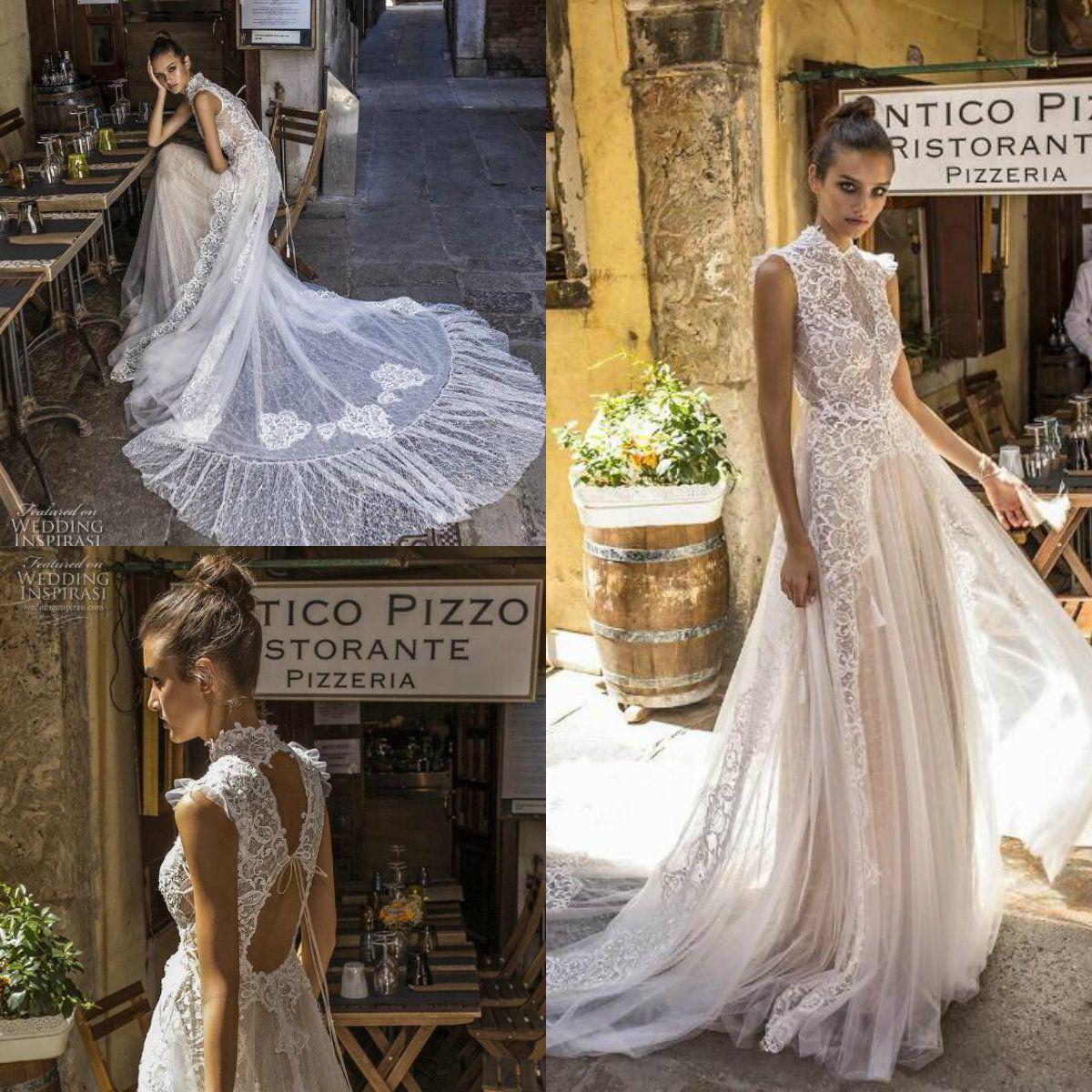6325b421e67 Pinella Passaro 2019 Lace Wedding Dresses High Collar Sleeveless Tulle  Sweep Train Boho Wedding Dress Cheap Bridal Gowns Custom Made Wedding  Dresses Wedding ...