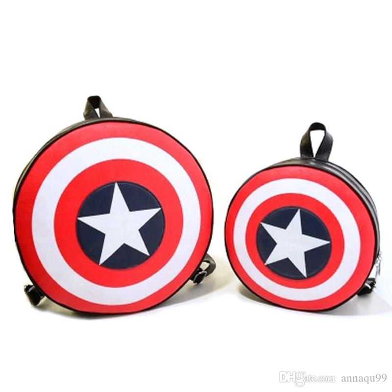 Marvels The Avengers Captain America Shield Backpack Backpack Bag Student Bag Round Ends Agents of S.H.I.E.L.D.Free Shipping