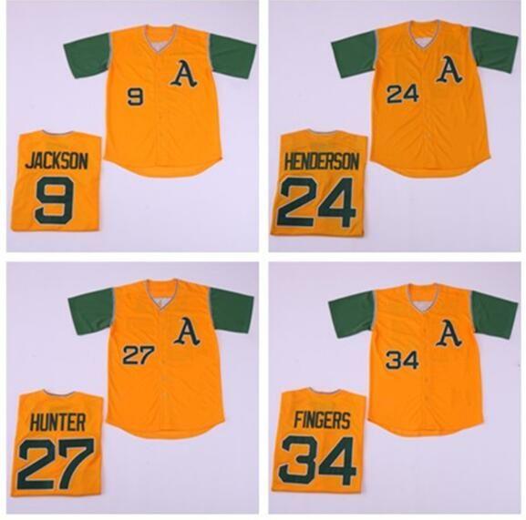 online store ee92a 80ba4 Mens Oakland Athletics Rickey Henderson Reggie Jackson Rollie Fingers  Catfish Hunter Yellow Baseball Jersey