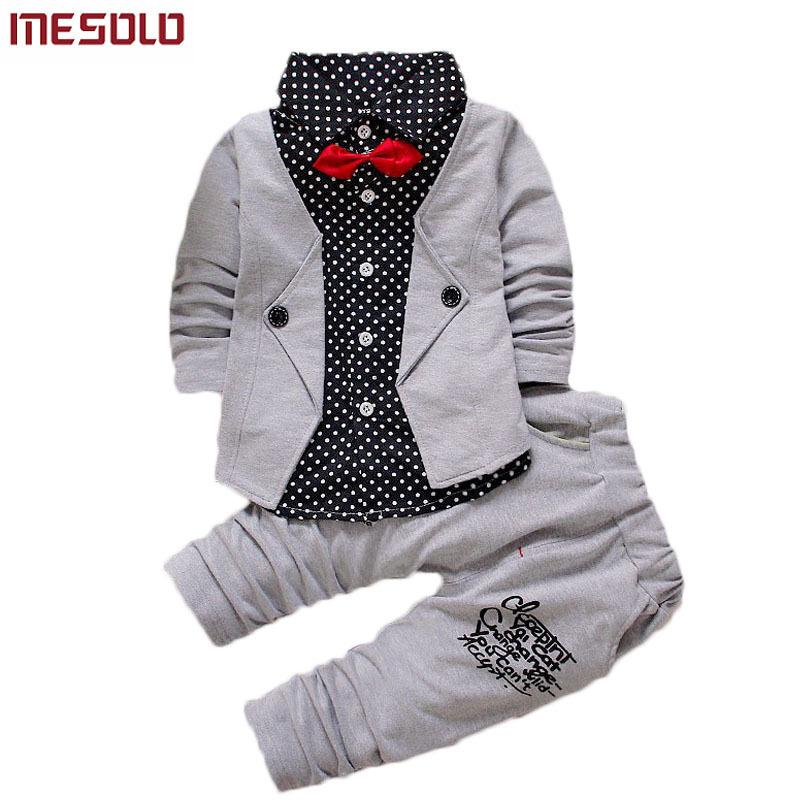 023f50fbb 2019 Baby Boys Autumn Casual Clothing Set Baby Kids Button Letter Bow  Clothing Sets Babe jacket + pant 2-Piece Suit Set
