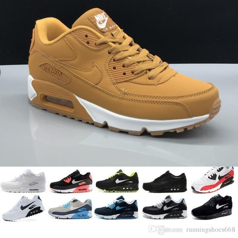 nike air max 90 airmax Alta qualità 2019 Air Cushion 90 Casual Scarpe da corsa economici Nero Bianco Rosso 90 Uomo Donna Sneakers Classic Air90 Trainer Outdoor D669