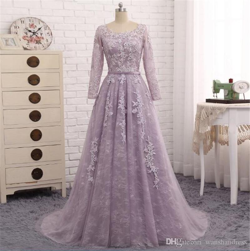 312a27c174c7 Light Purple Lace Prom Dress 2018 Wanshandress Long Sleeves Hollow Back Evening  Dresses Custom Jewel Evening Gowns With Belt Kids Evening Dresses Lilac ...