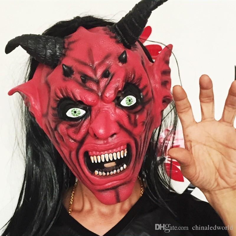 Yeduo Devil Inferno Satan Mask Horror Halloween Novelty Red Face Adult Size Party Head Long Hair for Women Men