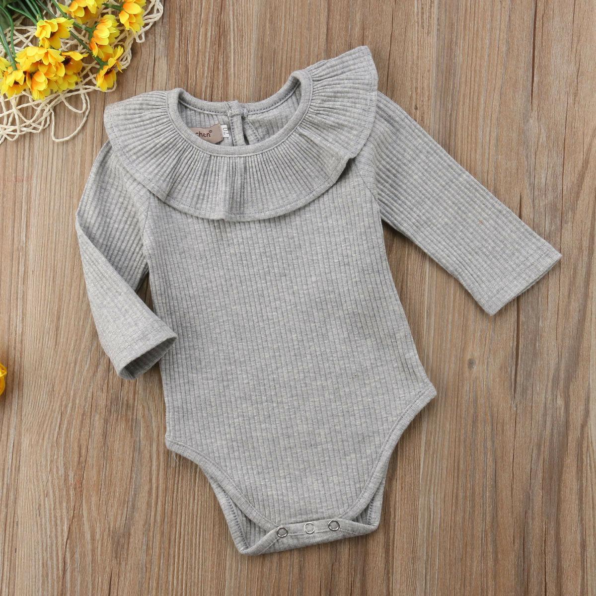 2019 bambino di colore solido delle tute di cotone morbido ragazza del neonato del pagliaccetto maniche lunghe Lotus Foglia Collare della tuta Outfits 0-24month