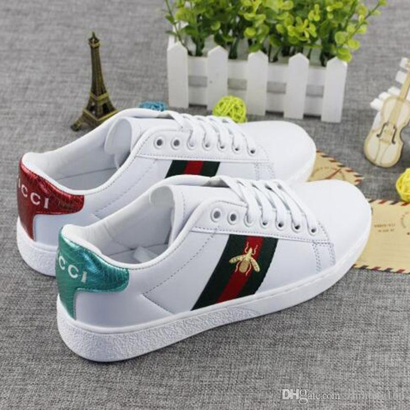 2019 Newest Embroidery Small Bee White Shoes For Outdoor Comfortable Women Casual Shoes Flat Sneakers Mens Zapatos Walking Shoes