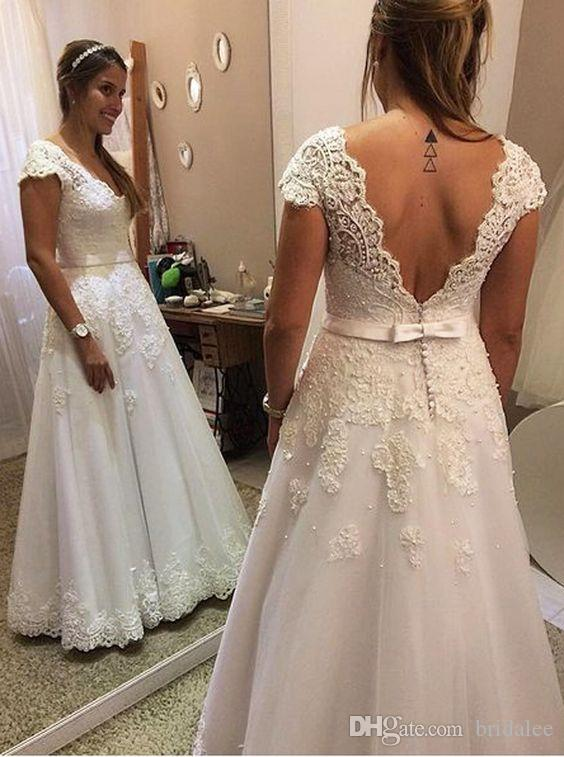 Sexy Backless Bohemian Wedding Dresses V Neck Cap Sleeve Lace Pearls Princess Wedding Dress Simple Summer Bridal Gowns 2020