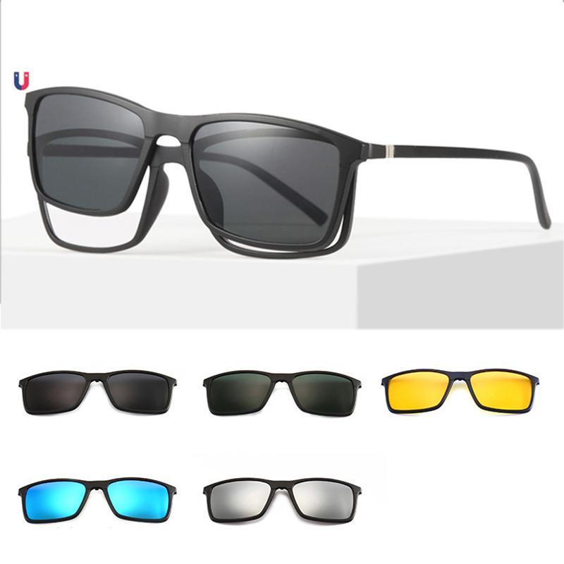 4577bfe2f Compre Óculos De Prescrição Magnética Quadrada Com Óculos Polarizados Clipe  Magnético Clip On Óculos De Sol Óculos De Armação De Vidro De Condução De  Turban ...