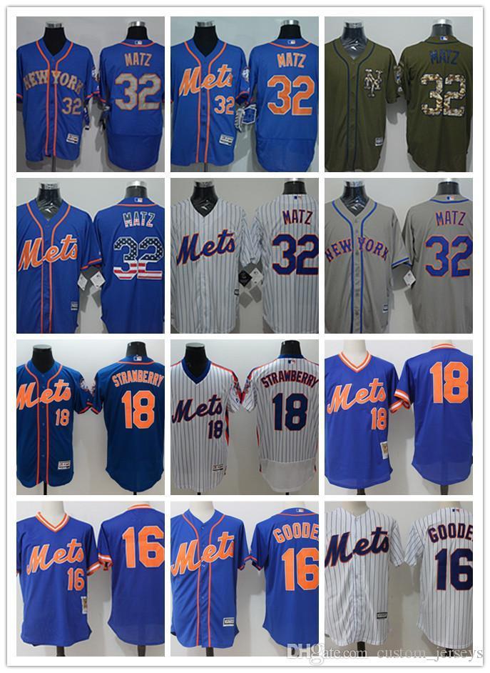 best website fa018 ad715 Men women youth New York custom Mets Jersey #32 Steven Matz 18 Darryl  Strawberry 16 Dwight Gooden Blue Baseball Jerseys