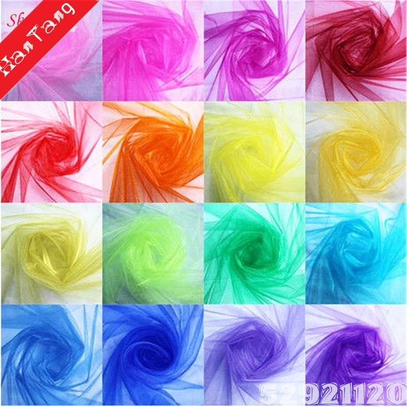 Cheap! 5meterSheer Crystal Organza Tulle Roll Fabric For Wedding Party Decoration Organza Chair Sashes Width 48cm 5Z White