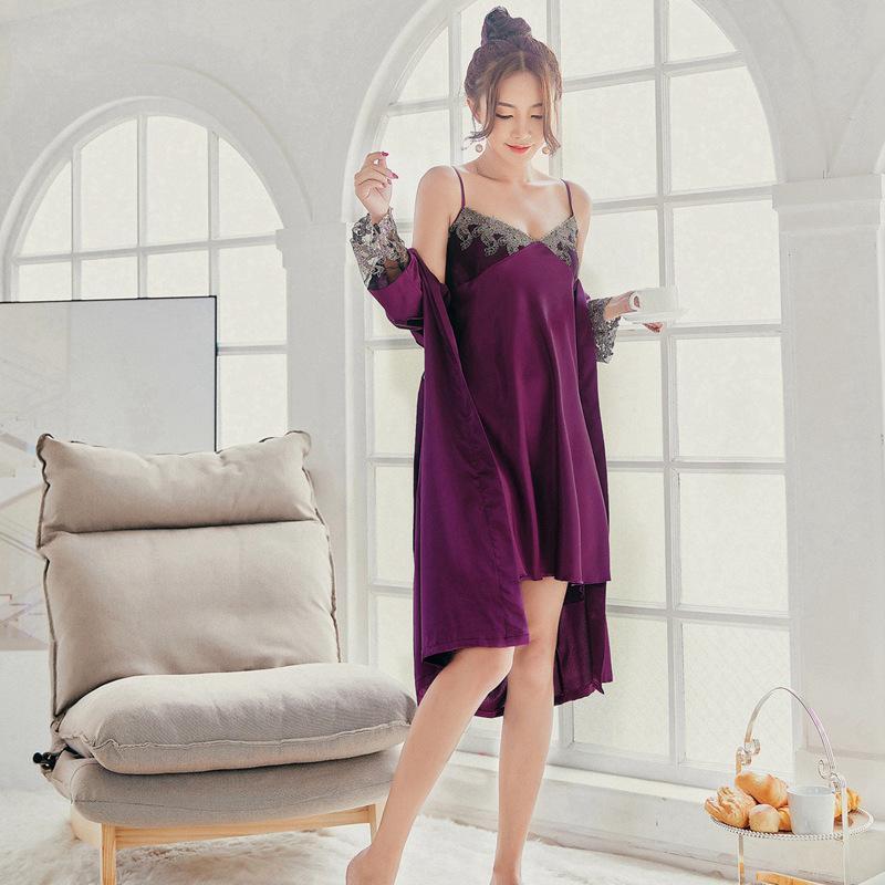 c24c6b16790 Acheter Robe Femme Robe De Nuit Robe De Nuit Peignoir Femme Vêtements De  Nuit Profonde V Cou Nuits Dentelle Soie Vêtements De Nuit Pyjama Pourpre  Lingerie ...