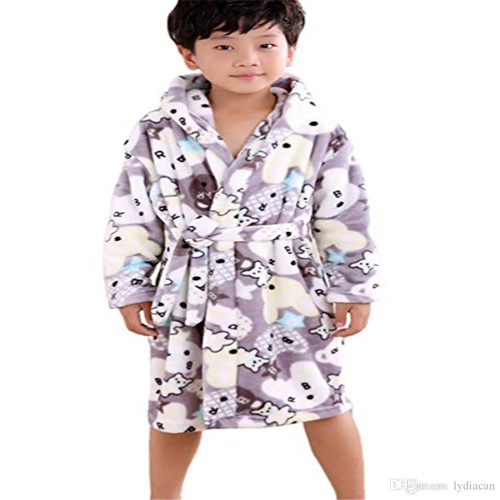 d96d1ff2832e5b Inverno primavera flanela vestido de roupão com capuz roupão infantil casa  desgaste macio pijamas