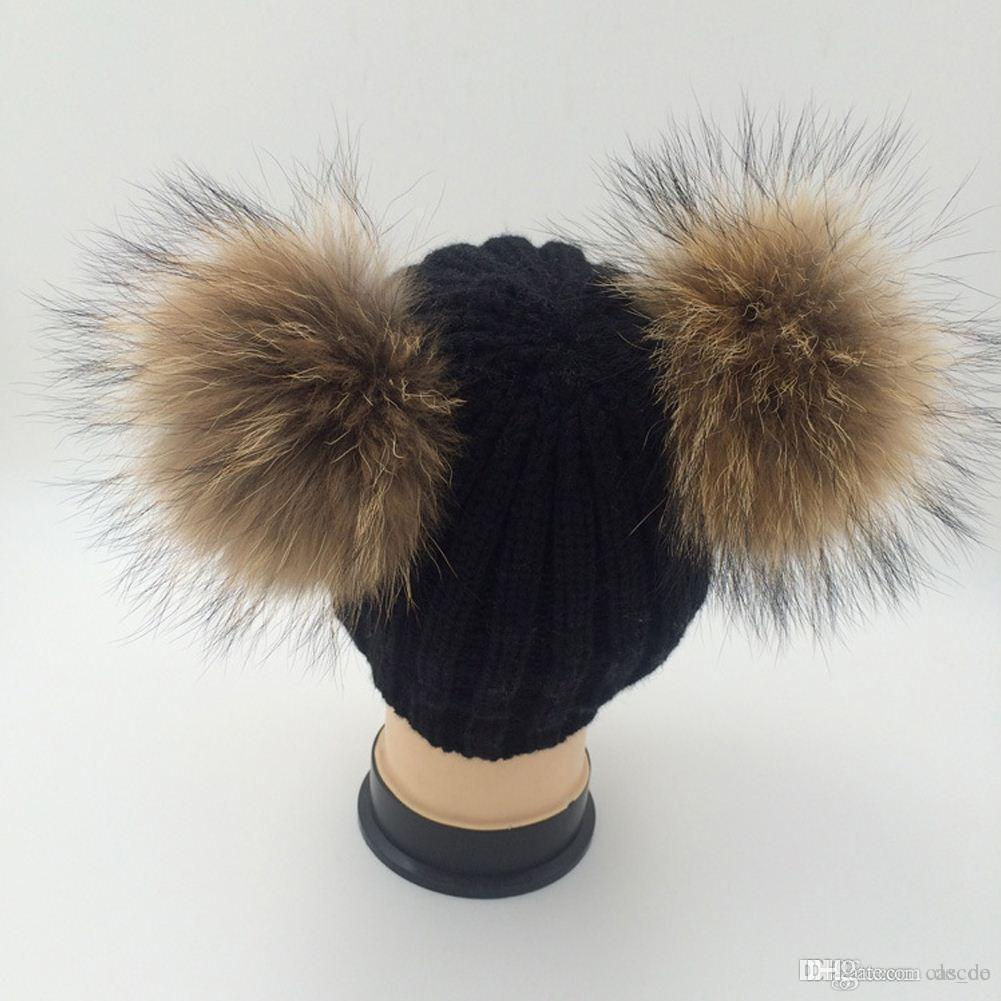 bc276a36bb1 Double Real Raccoon Fur Hat Pom Poms Winter Hat Women Wool Knit Beanie  Bobble Ski Cap Pompom Beanies Gorros Thick Female Caps W1 Cool Hats Cloche  Hat From ...