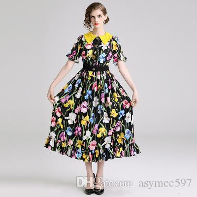 54cfbee8670d9 2019 Fashion Elegant New Floral Printed Dress of Women,Nice Baby Neck  Petaal Sleeve Lady's Long Skirts,Spring and Summer Dresses