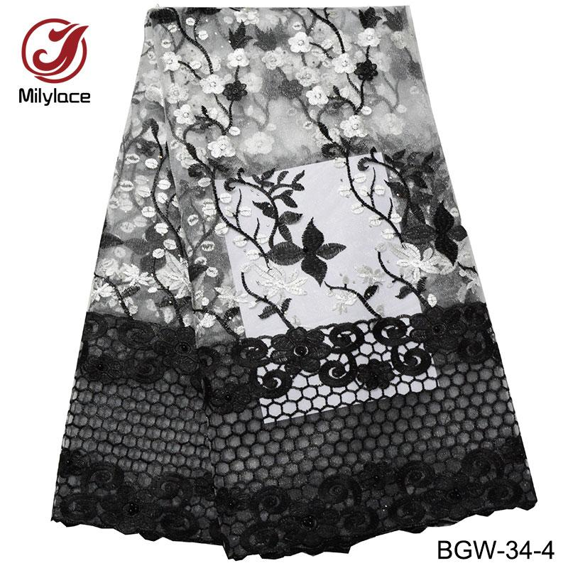 9200ee64dcb66 French lace fabric black and pink beads party dress lace african lace  fabric with stones 5 yards per lot BGW-34