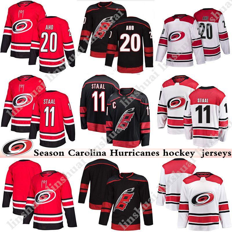 big sale a05f1 b7455 2018-2019 Season Carolina Hurricanes jersey 20 Sebastian Aho 11 Staal Black  Red and white Mens hockey jerseys
