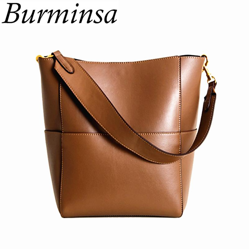 c5fe6546ee2a Burminsa Wide Strap Bucket Bags Women PU Leather Large Designer Handbags  High Quality Causal Tote Ladies Shoulder Messenger Bags