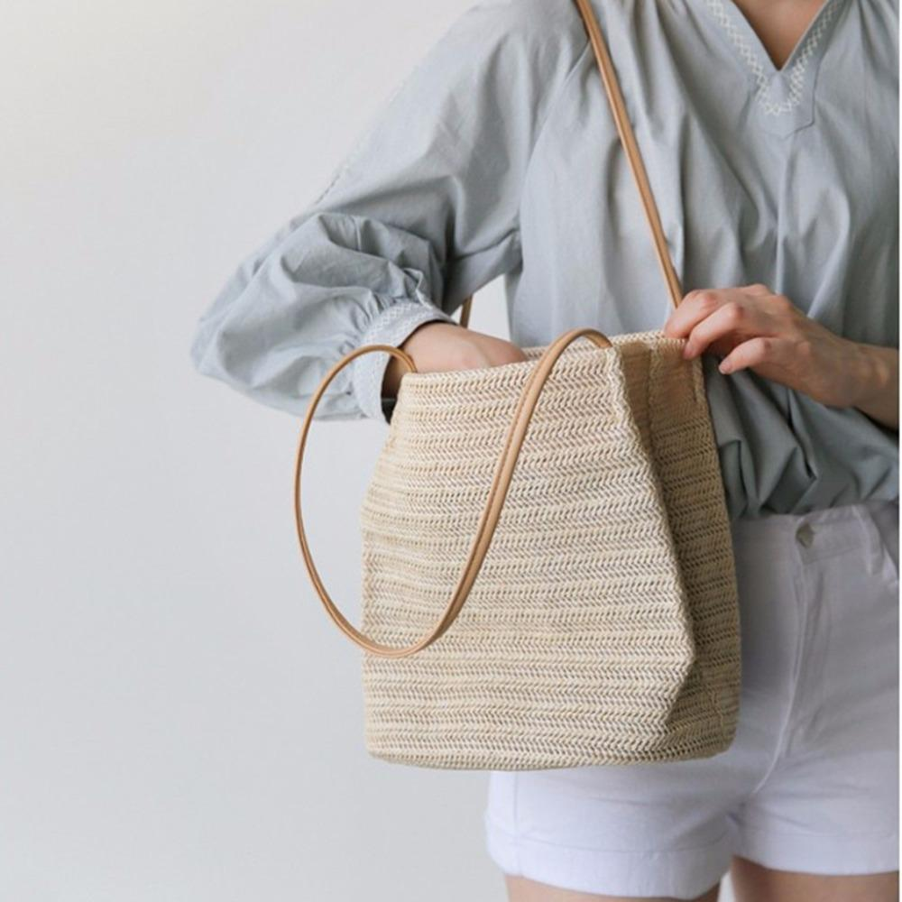 THINKTHENDO New Women Handmade Zip Straw Woven Beach Tote Handbags Summer Shoulder Bag Shopping Handbag Large Capacty