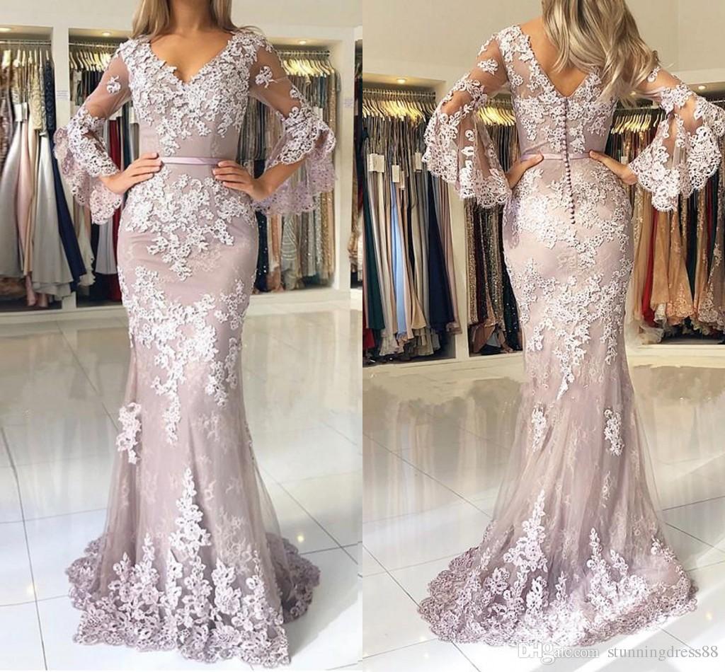 70161e0de104 Vintage Long Juliet Sleeves 2019 Prom Dresses Evening Gowns Cheap V Neck Mermaid  Lace Sequins Applique Party Formal Pageant Dress Cheap Modest Prom Dresses  ...