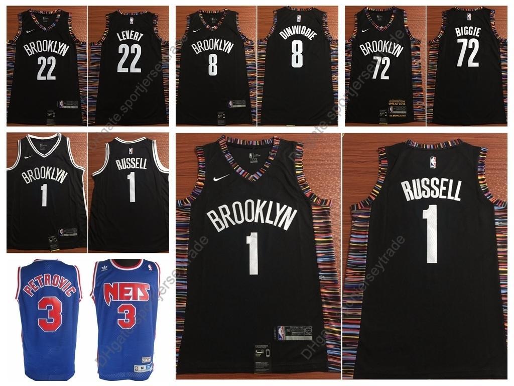 317ab1a0bebc 2019 2019 Brooklyn City Men  1 D Angelo Russell Caris LeVert 72 Biggie  Smalls Spencer Dinwiddie Nets Drazen Petrovic 3 Edition Basketball Jerseys  From ...