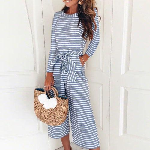 Women Romper Autumn Striped Summer Long Sleeve Round neck Wide Leg Holiday Rompers Bodysuit Jumpsuit Playsuit