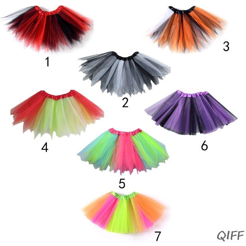 e2aafcef2 Niñas pequeñas Ballet Danza Mini vestido de tutú puntiagudo Tres capas  Tulle Arco iris de color Patchwork Falda Cintura de raso Pettiskirt