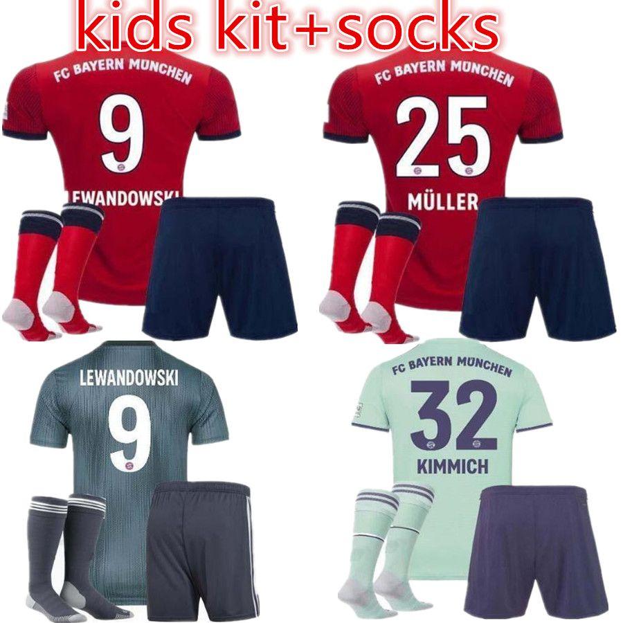 5a502705448ad Compre Bayern Munich Camisa De Futebol 2018 2019 Müller   25 RIBERY ROBBEN  LEWANDOWSKI Camisas De Futebol Bayern Munique Uniformes De Futebol Crianças  Kits ...