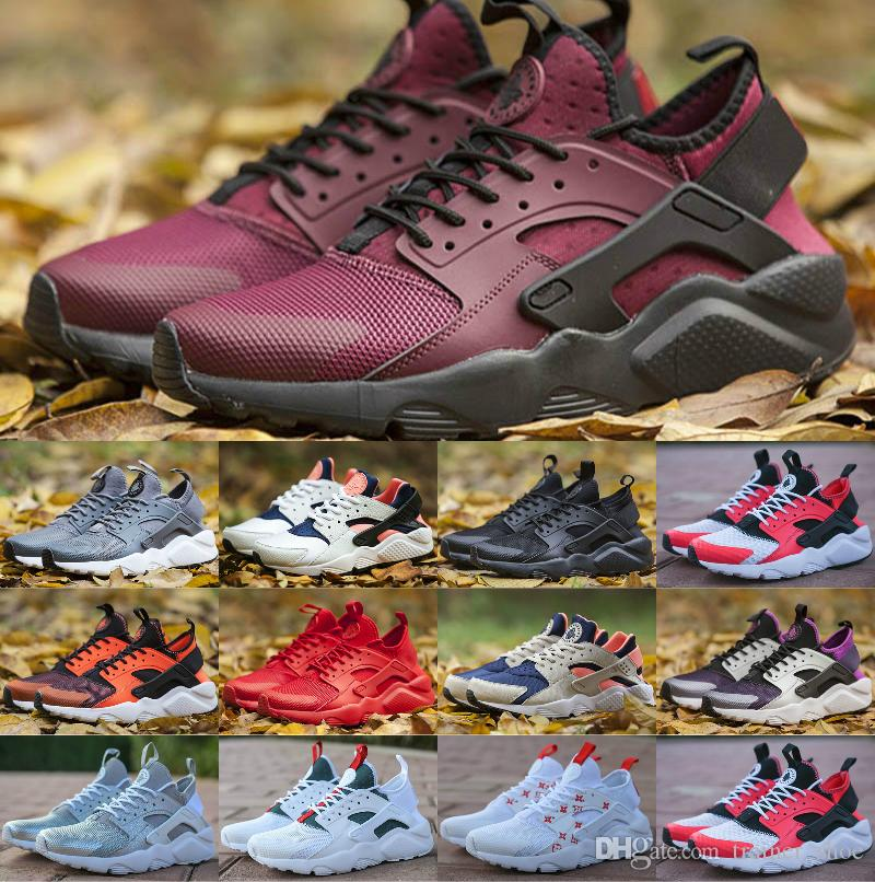 buy cheap 35436 6df32 2019 Air Huarache 1.0 4.0 Men Running Shoes Stripe Red Balck White Rose  Gold Women Designer Shoes Sport Sneakers 5.5 11 Basketball Games Tennis  Shoes From ...