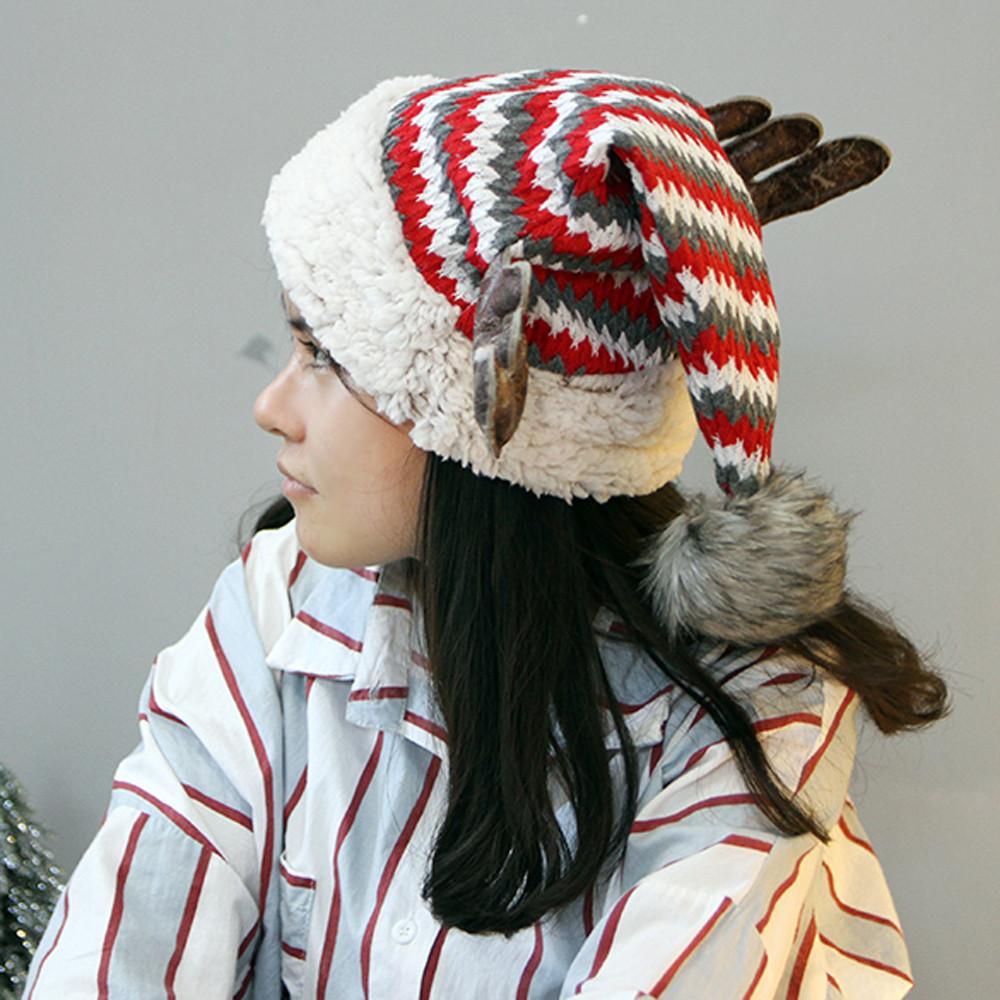 Crochet Christmas Hats Adults.Christmas Hat Adult Child Cute Elk Antlers Santa Claus Hats Xmas Holiday Party Warm Crochet Plus Velvet M9