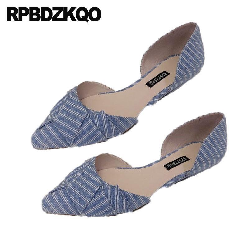 36228dc8180 Compre Mulheres China Xadrez Deslize Na Moda 2018 Senhoras Belas  Apartamentos Sapatos Listrado Dedo Apontado Coreano Azul Sandálias De Grife  Calçado De ...