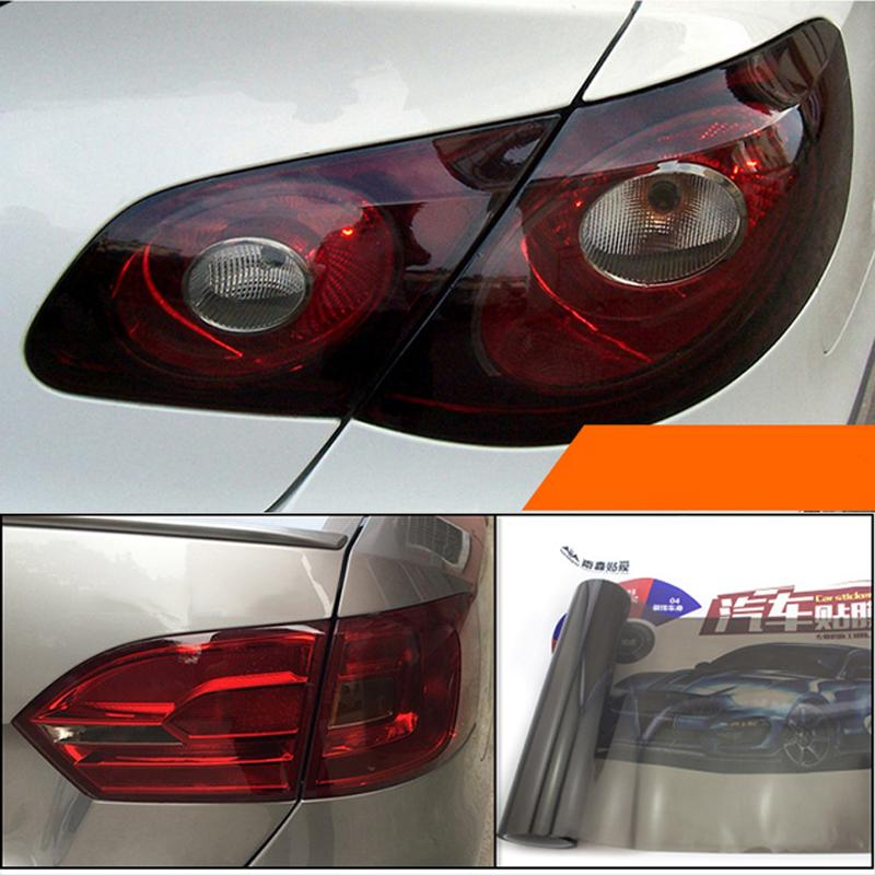 30*120cm Deep Grey Car Headlight Taillight Sticker Auto Fog Tail Brake Light Tint Vinyl Film Sheet Cover Sticker Car DIY Styling