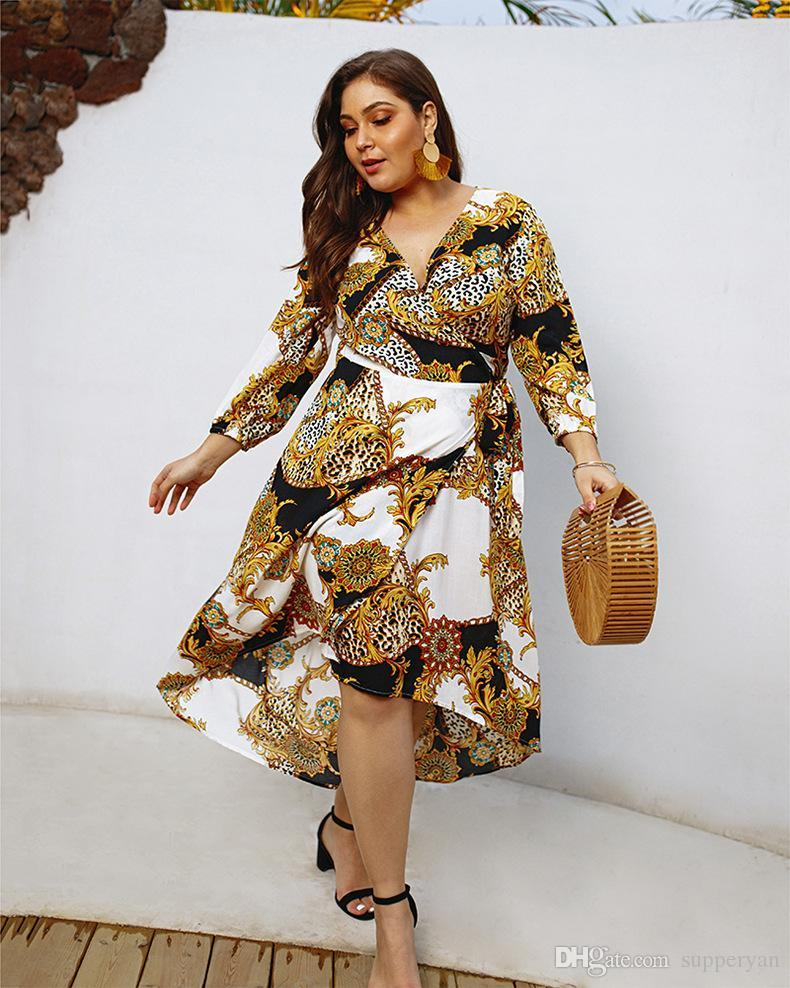 Plus Size Casual Floral Print Belted Dress Women 2019 Summer Short Sleeve  Straight Maxi Dresses Ladies Hi Lo Dress J190585