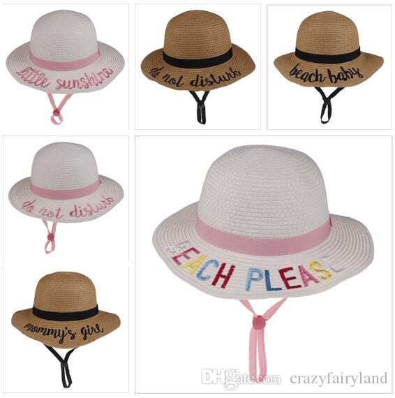 a2d471b8d399f 2019 Baby Sun Hat Letters Embroidery UV Protect Beach Hats Girls ...