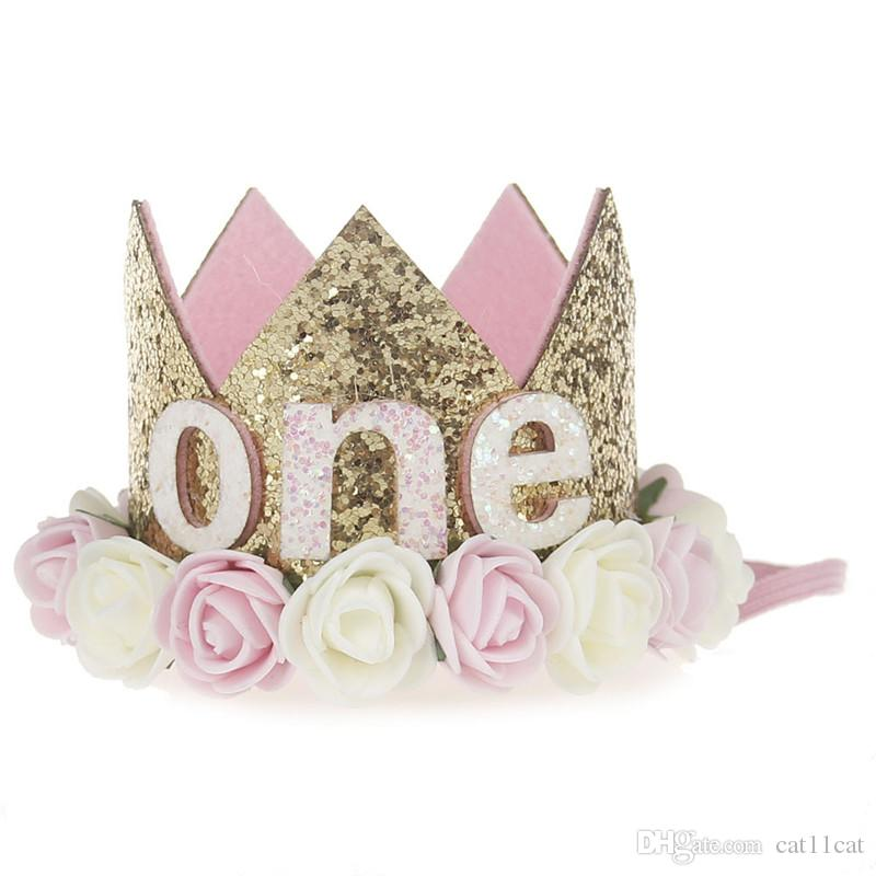 d764c61696a 2019 Birthday Girl Party Flower Hats Pink Princess Crown 1st 2nd Year Old  Number Baby Kids Hair Accessory Birthday Party Decors From Cat11cat