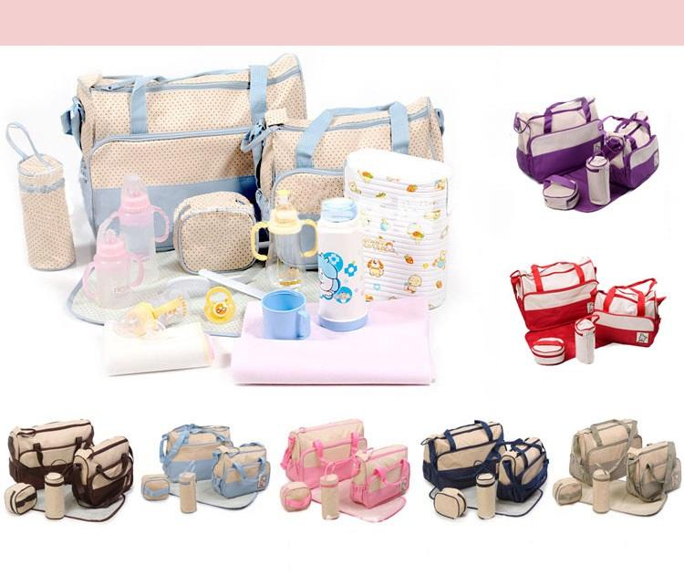 Large 5pcs Baby Nappy Diaper Mummy Hospital Changing Bag Brand New UK Stock