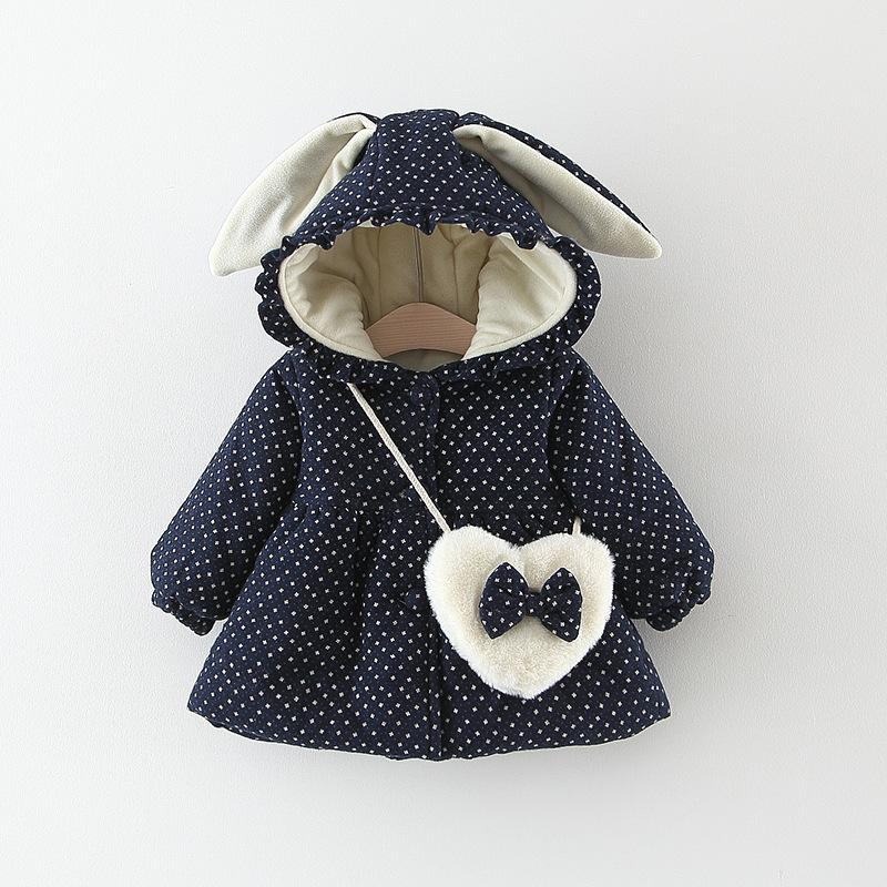 0e259e71fa2d Winter Warm 2018 Girls Infant Kids Rabbit Ear Hooded Thicken Velvet ...