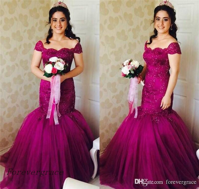 2019 Fuchsia Off Shoulders Mermaid Prom Dress Arabic Cheap Backless Formal Summer Holidays Wear Evening Party Gown Custom Made Plus Size