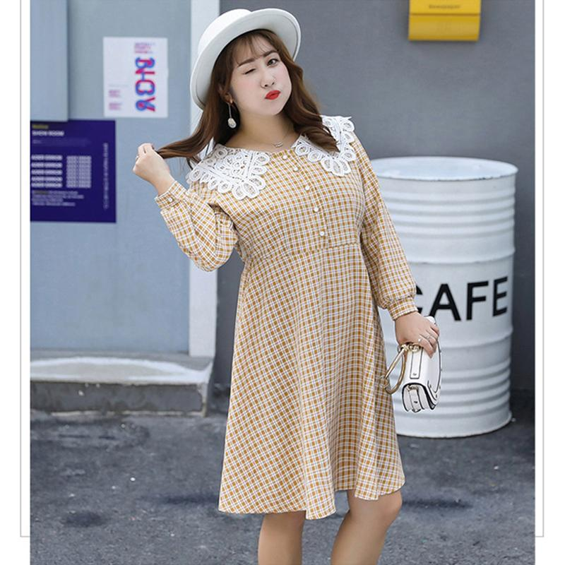 b3402488bb2 CXQ039 Womens Clothes 2019 Korean Plus Size New Button Plaid Sexy Dress  Peter Pan Collar Long Sleeve Party Dress XL 4XL Party Dresses Gold Cute Red  Party ...