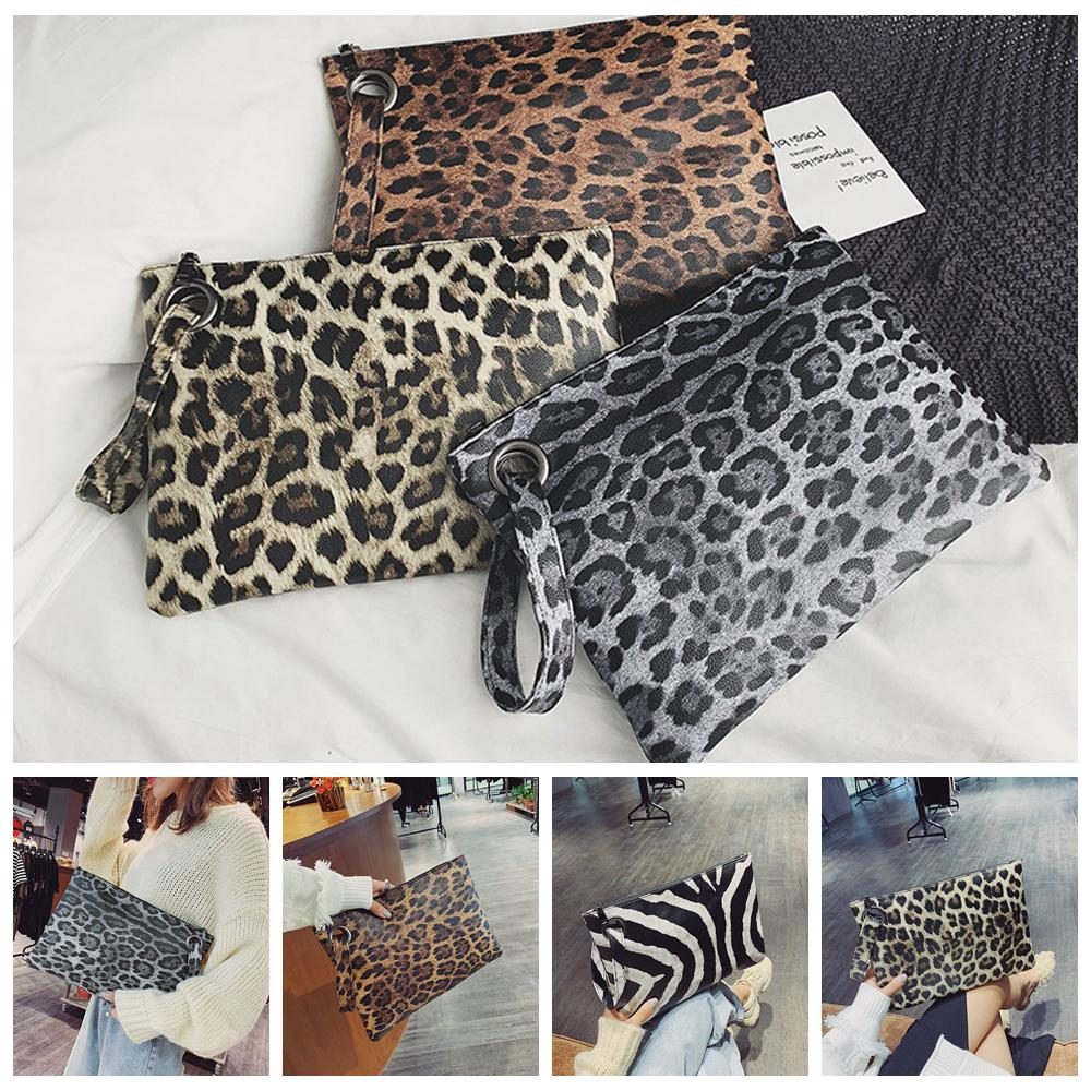 4styles Leopard stripe clutch bag women party beach travel outdoor handbag women fashion zipper wrist Leopard printed bag FFA2035